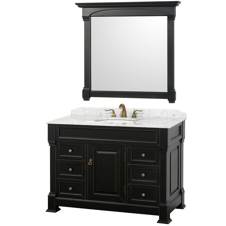 Wyndham Collection Andover Black Undermount Single Sink Bathroom Vanity with Natural Marble Top (Common: 48-in x 23-in; Actual: 48-in x 23-in)