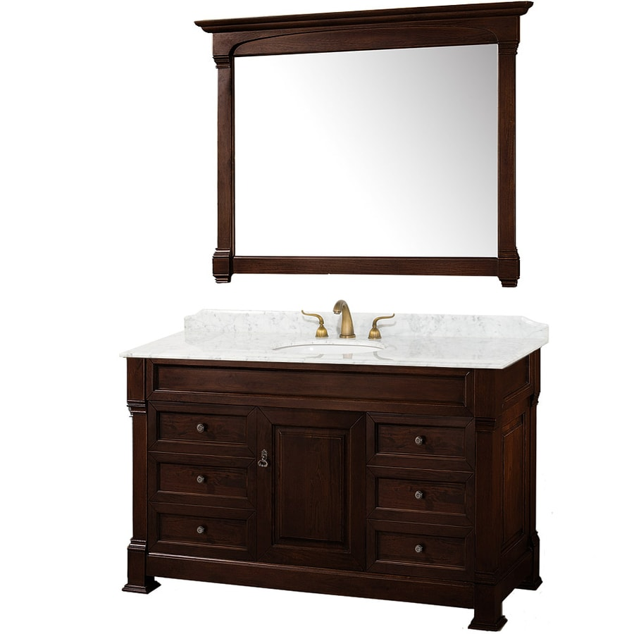 Wyndham Collection Andover Cherry 55-in Undermount Single Sink Oak Bathroom Vanity with Natural Marble Top (Mirror Included)