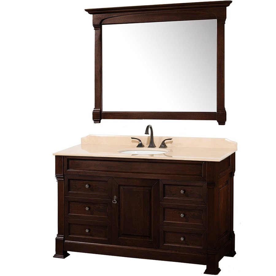 Wyndham Collection Andover Cherry Undermount Single Sink Bathroom Vanity with Natural Marble Top (Common: 55-in x 23-in; Actual: 55-in x 23-in)