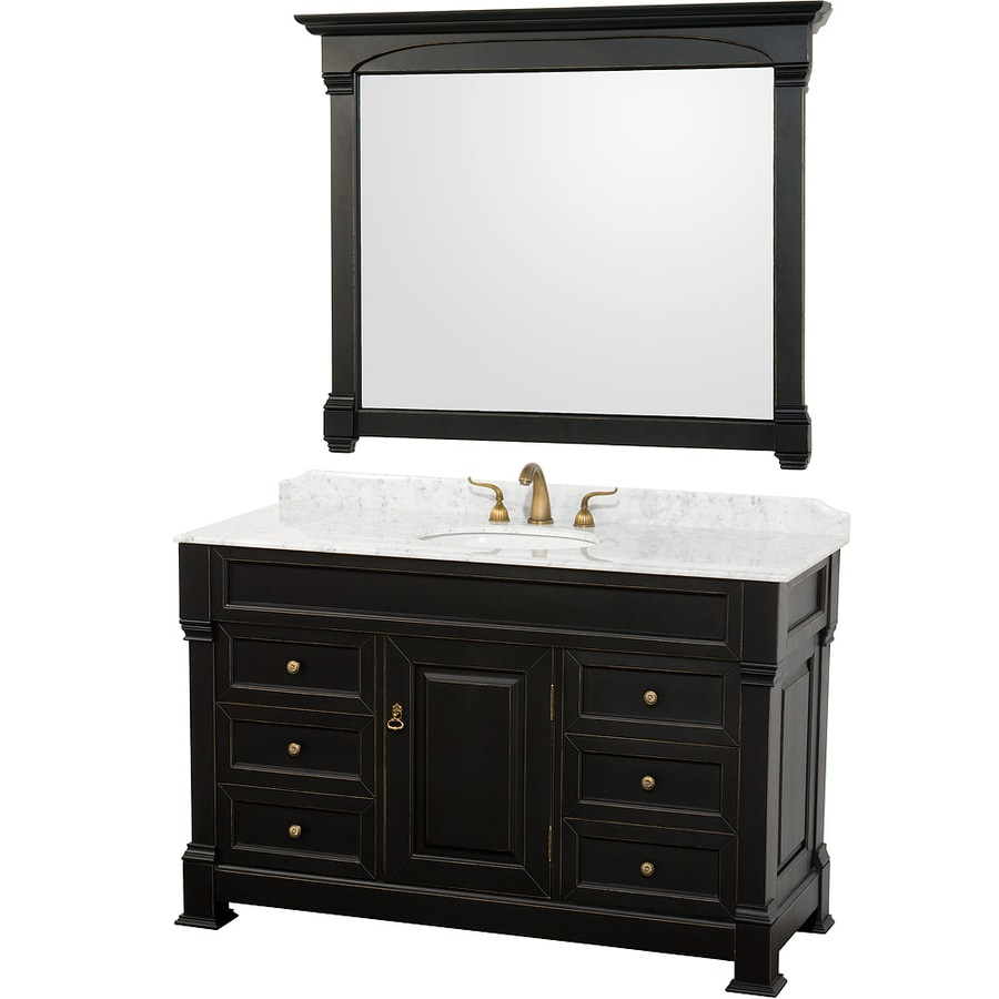 Wyndham Collection Andover Black 55-in Undermount Single Sink Oak Bathroom Vanity with Natural Marble Top (Mirror Included)