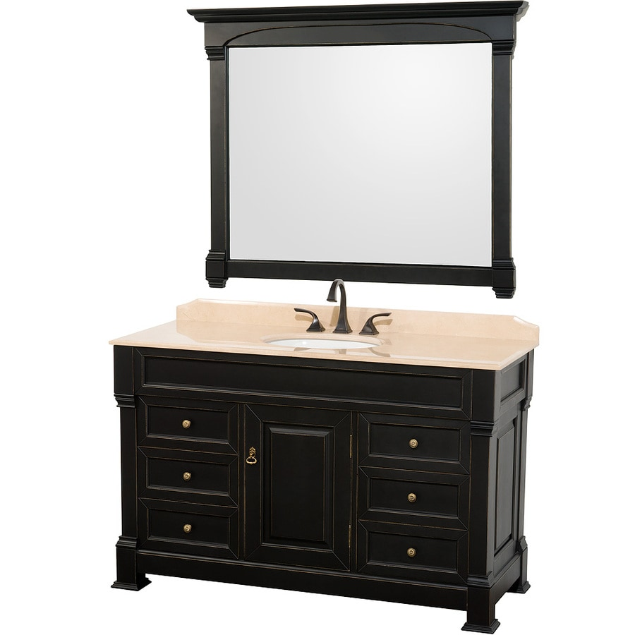 Wyndham Collection Andover Black Undermount Single Sink Bathroom Vanity with Natural Marble Top (Common: 55-in x 23-in; Actual: 55-in x 23-in)