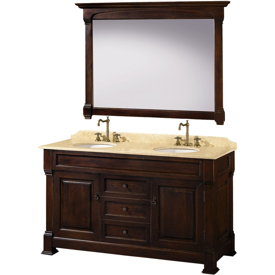 Wyndham Collection Andover Cherry (Common: 60-in x 23-in) Undermount Double Sink Oak Bathroom Vanity with Natural Marble Top (Mirror Included) (Actual: 60-in x 23-in)
