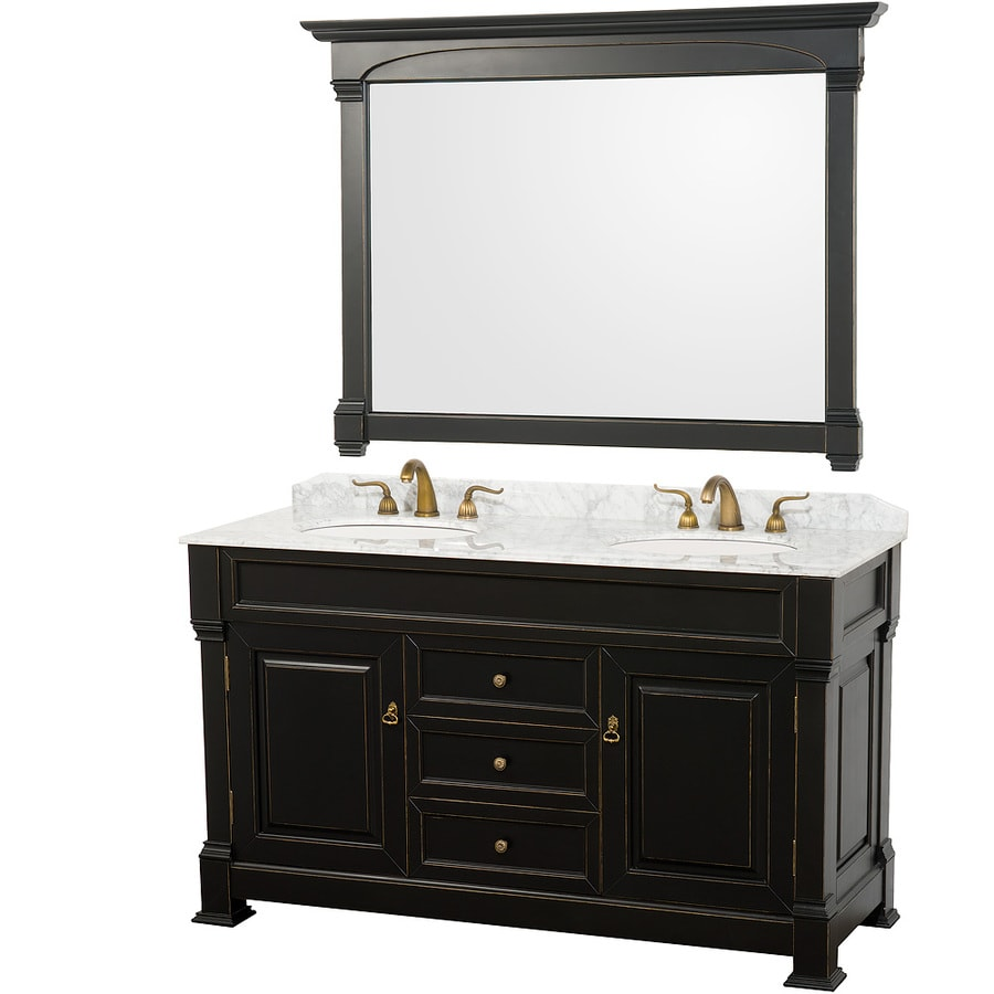 Wyndham Collection Andover Black 60-in Undermount Double Sink Oak Bathroom Vanity with Natural Marble Top (Mirror Included)