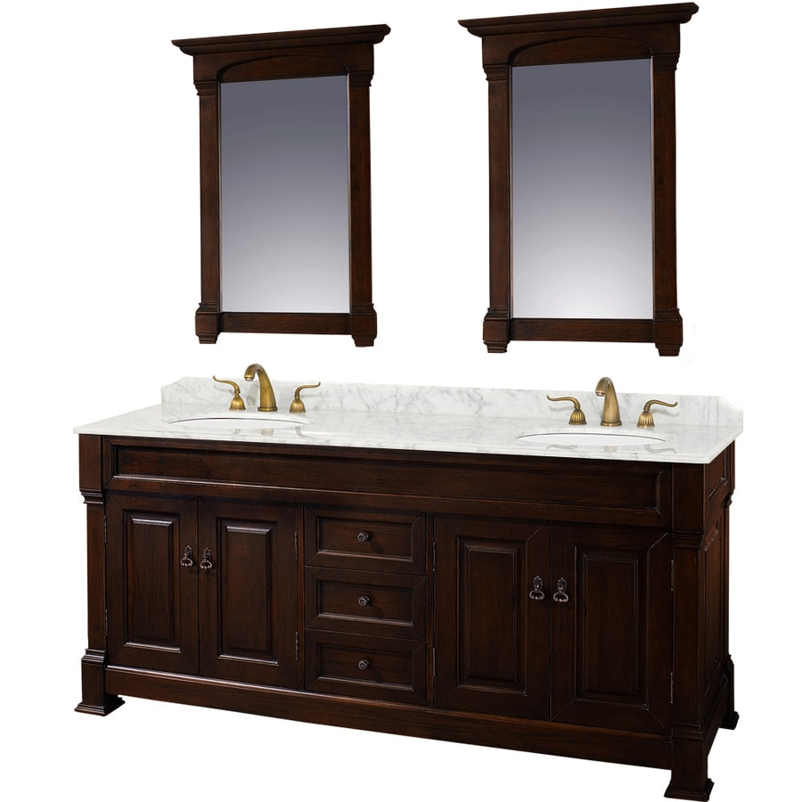 Wyndham Collection Andover Cherry Double Sink Vanity With White Carrera Natural Marble Top Common
