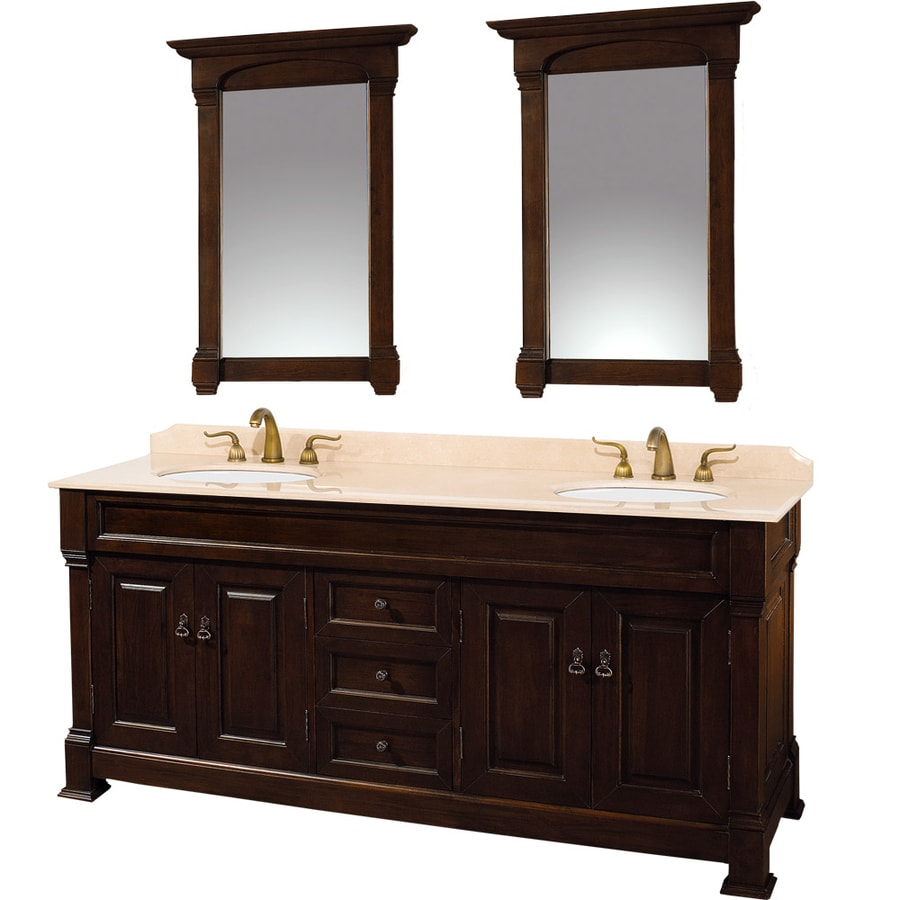 Shop wyndham collection andover cherry undermount double sink bathroom vanity with natural Stores to buy bathroom vanities