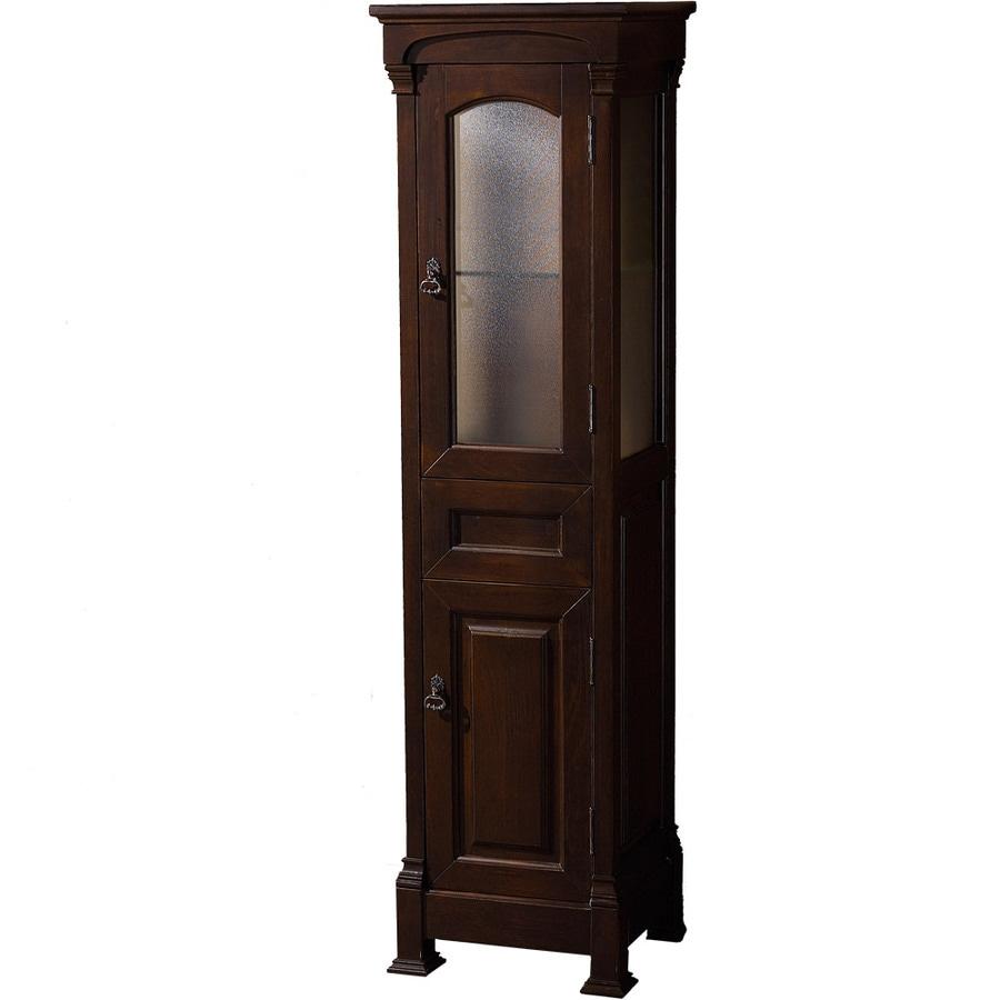Wyndham Collection 18-in W x 65-in H x 16-in D Dark Cherry Oak Freestanding Linen Cabinet