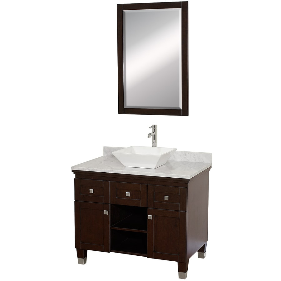 Wyndham Collection Premiere Espresso Single Vessel Sink Bathroom Vanity with Natural Marble Top (Common: 36-in x 22-in; Actual: 36-in x 22-in)
