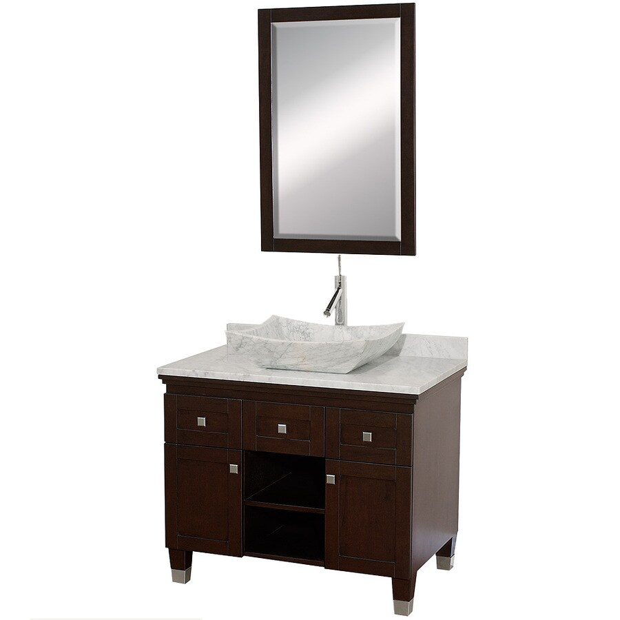 Wyndham Collection Premiere Espresso 36-in Vessel Single Sink Oak Bathroom Vanity with Natural Marble Top (Mirror Included)