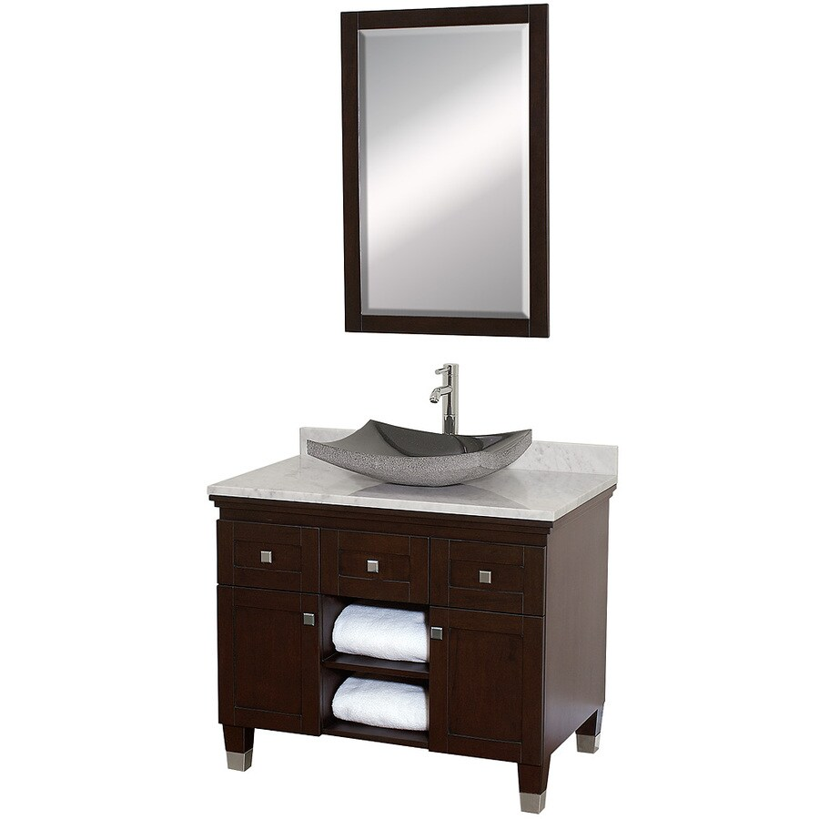 36 in vessel single sink oak bathroom vanity with natural marble top