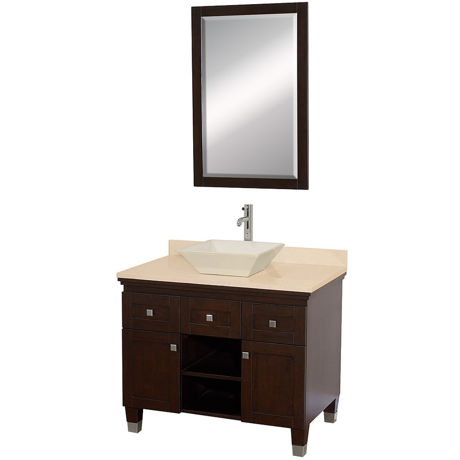 Wyndham Collection Premiere Espresso 36-in Vessel Single Sink Oak Bathroom Vanity with Natural Marble Top (Mirror Included)
