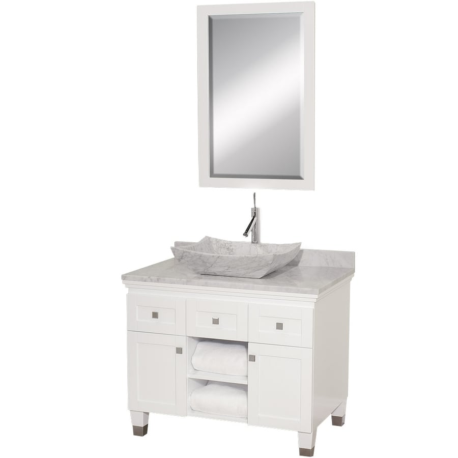 Wyndham Collection Premiere White 36-in Vessel Single Sink Oak Bathroom Vanity with Natural Marble Top (Mirror Included)