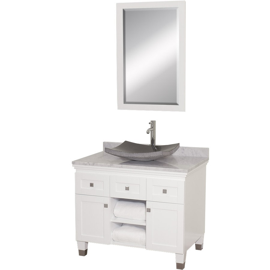 Wyndham Collection Premiere White Single Vessel Sink Bathroom Vanity with Natural Marble Top (Common: 36-in x 22-in; Actual: 36-in x 22-in)