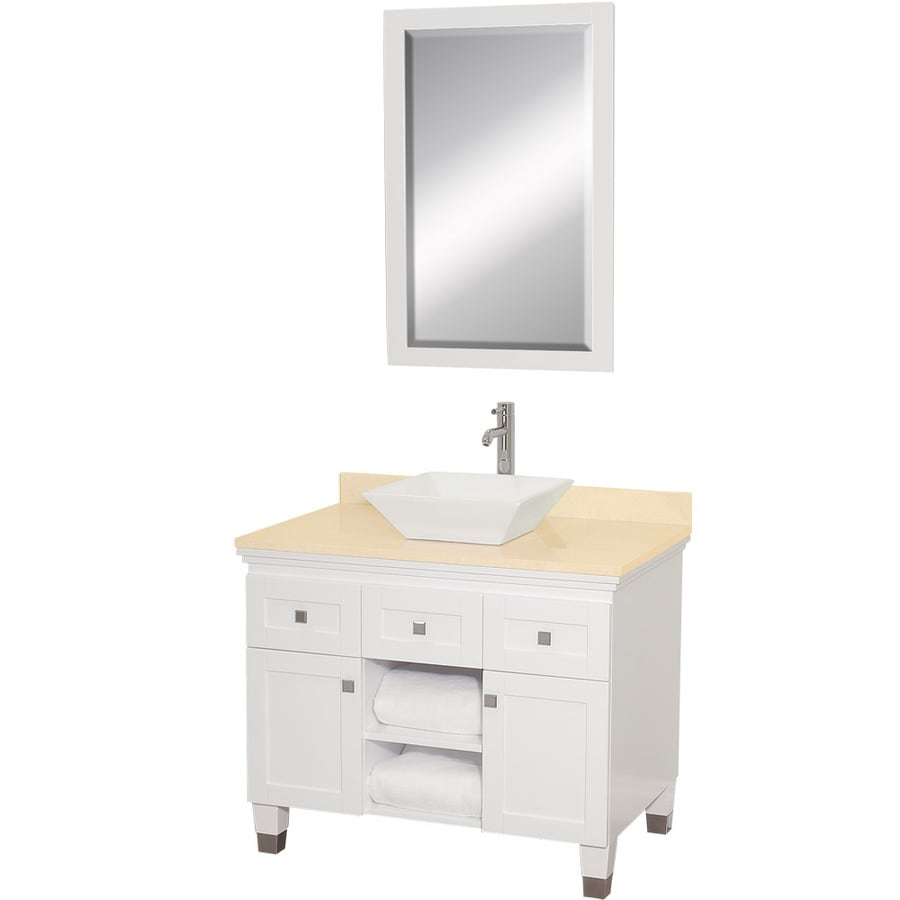Wyndham Collection Premiere White Single Vessel Sink Bathroom Vanity With  Natural Marble Top (Common: