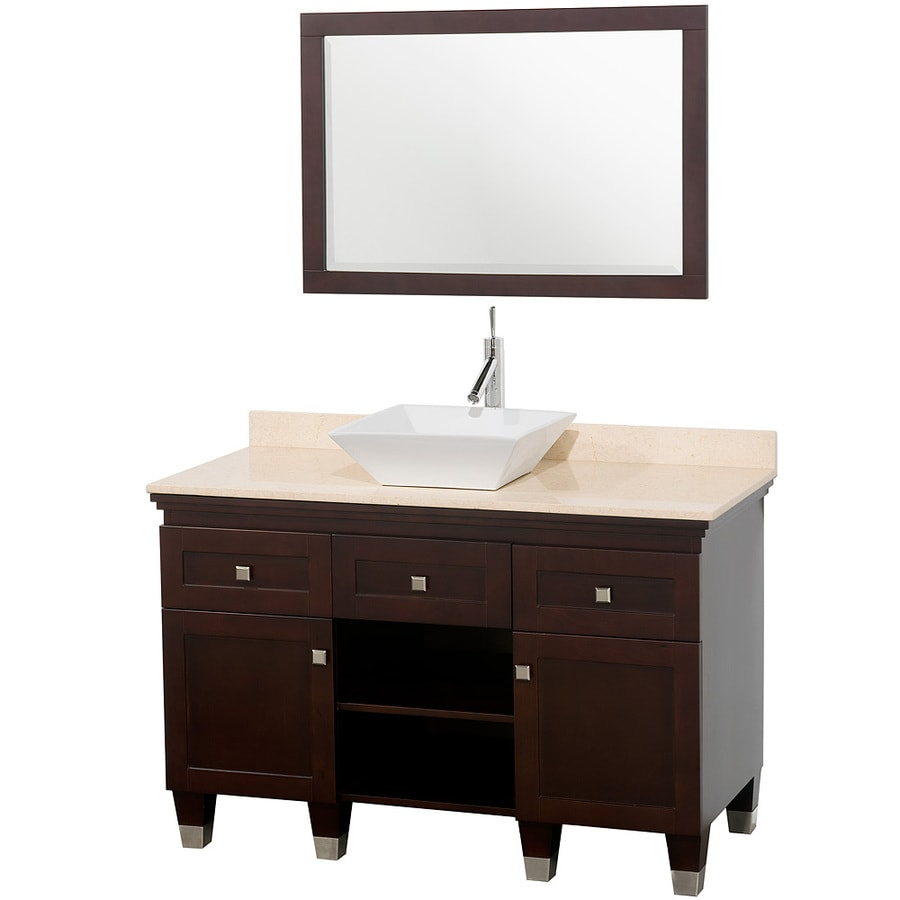 Wyndham Collection Premiere Espresso (Common: 48-in x 22-in) Vessel Single Sink Oak Bathroom Vanity with Natural Marble Top (Mirror Included) (Actual: 48-in x 22-in)