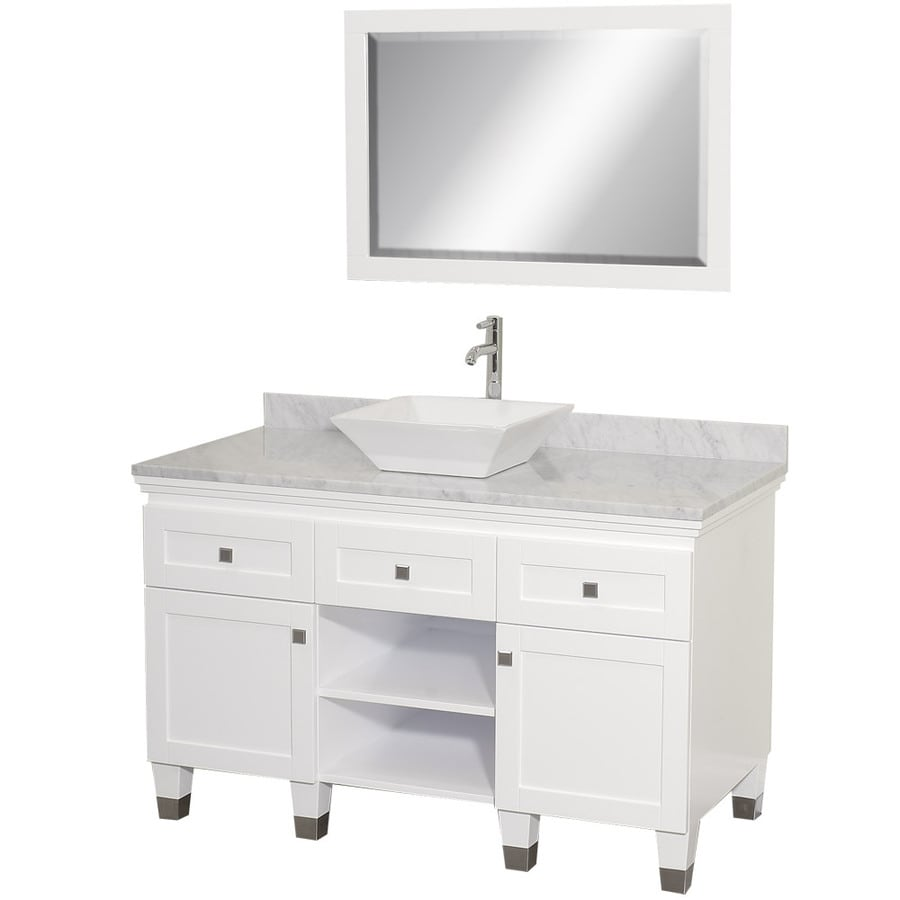 Wyndham Collection Premiere White Single Vessel Sink Bathroom Vanity With Natural Marble Top Common
