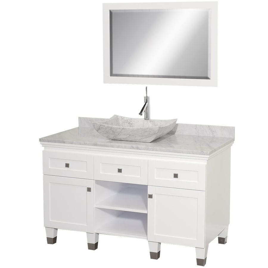 Shop wyndham collection premiere white single vessel sink for Single bathroom vanity