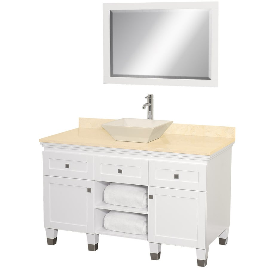 Wyndham Collection Premiere White (Common: 48-in x 22-in) Vessel Single Sink Oak Bathroom Vanity with Natural Marble Top (Mirror Included) (Actual: 48-in x 22-in)