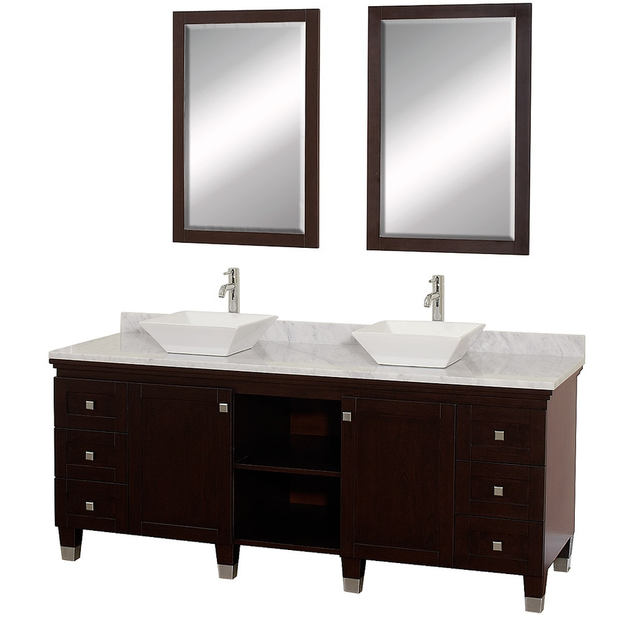 Shop wyndham collection premiere espresso double vessel sink bathroom vanity with natural marble Marble top bathroom vanities