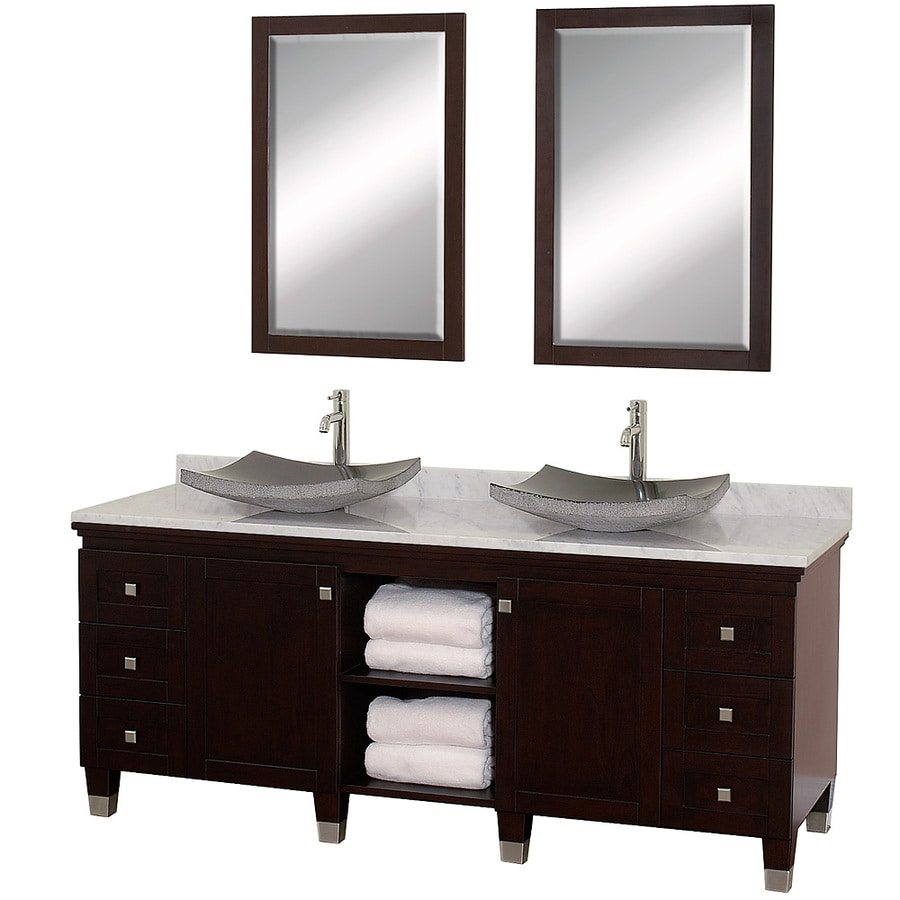 Wyndham Collection Premiere Espresso 72-in Vessel Double Sink Oak Bathroom Vanity with Natural Marble Top (Mirror Included)