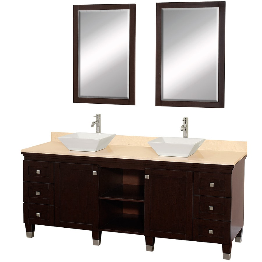 Wyndham Collection Premiere Espresso Double Vessel Sink Bathroom Vanity with Natural Marble Top (Common: 72-in x 22-in; Actual: 72-in x 22-in)