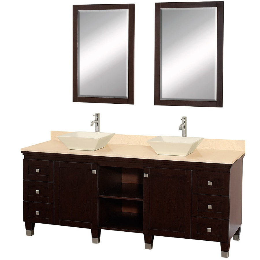 Wyndham Collection Premiere Espresso (Common: 72-in x 22-in) Vessel Double Sink Oak Bathroom Vanity with Natural Marble Top (Mirror Included) (Actual: 72-in x 22-in)