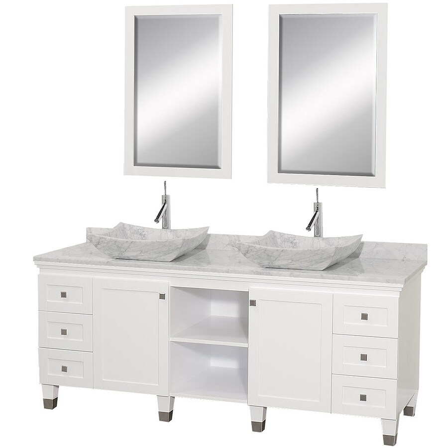 Shop wyndham collection premiere white double vessel sink for Bathroom 72 double vanity