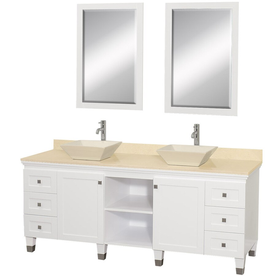 Wyndham Collection Premiere White Double Vessel Sink Bathroom Vanity with Natural Marble Top (Common: 72-in x 22-in; Actual: 72-in x 22-in)