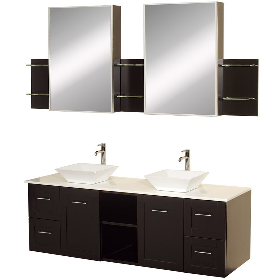 Wyndham Collection Avara Espresso 60-in Vessel Double Sink Oak Bathroom Vanity with Solid Surface Top (Mirror Included)