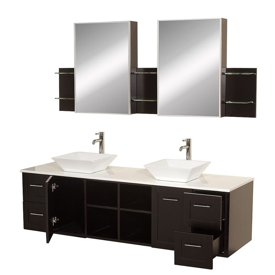 Wyndham Collection Avara Espresso 72-in Vessel Double Sink Oak Bathroom Vanity with Solid Surface Top (Mirror Included)
