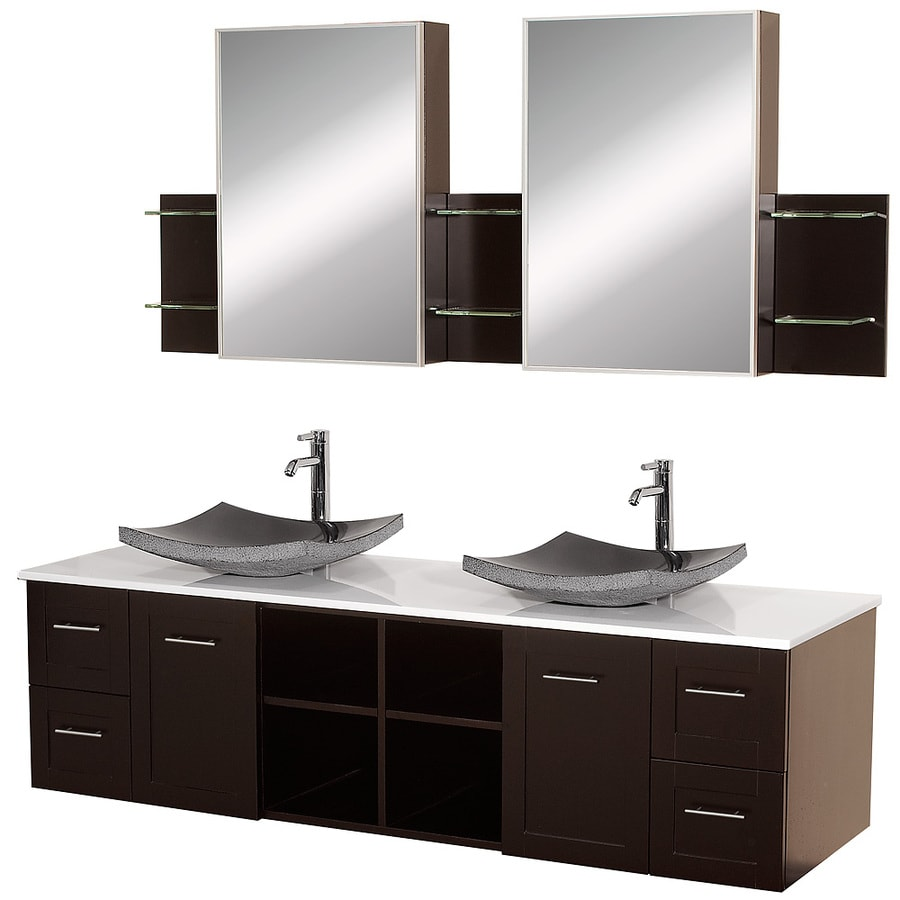 Wyndham Collection Avara Espresso (Common: 72-in x 23-in) Vessel Double Sink Oak Bathroom Vanity with Solid Surface Top (Mirror Included) (Actual: 72-in x 22.5-in)