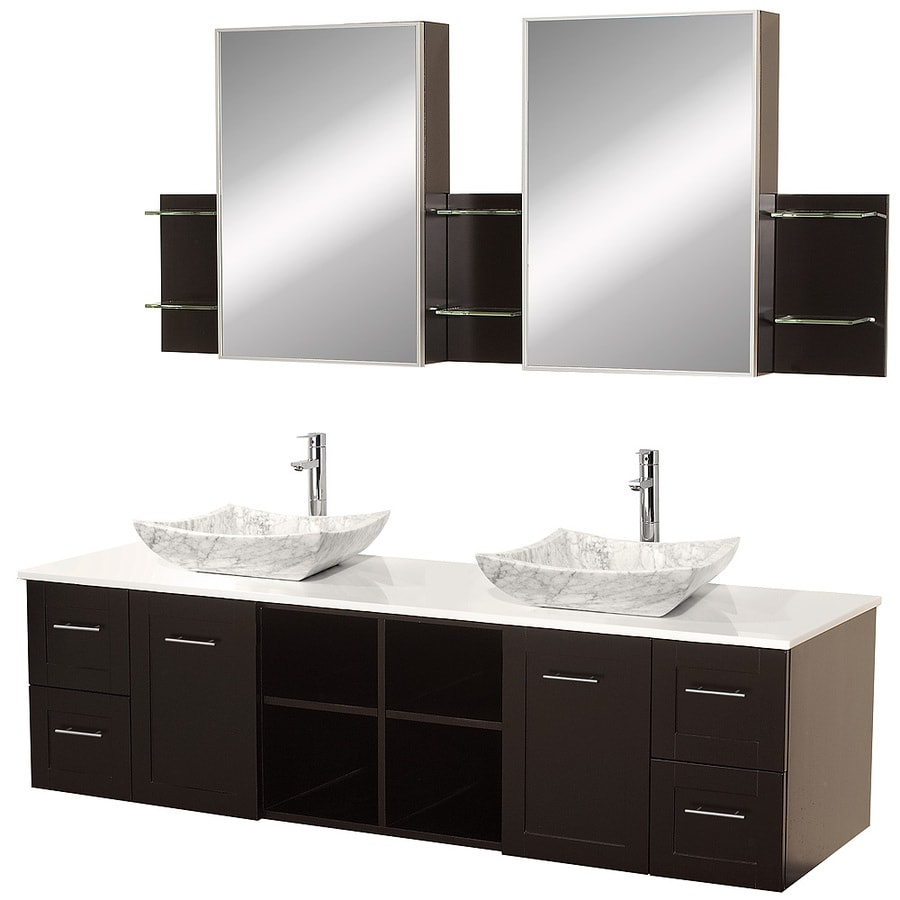 Wyndham Collection Avara Espresso Double Vessel Sink Bathroom Vanity with Solid Surface Top (Common: 72-in x 23-in; Actual: 72-in x 22.5-in)