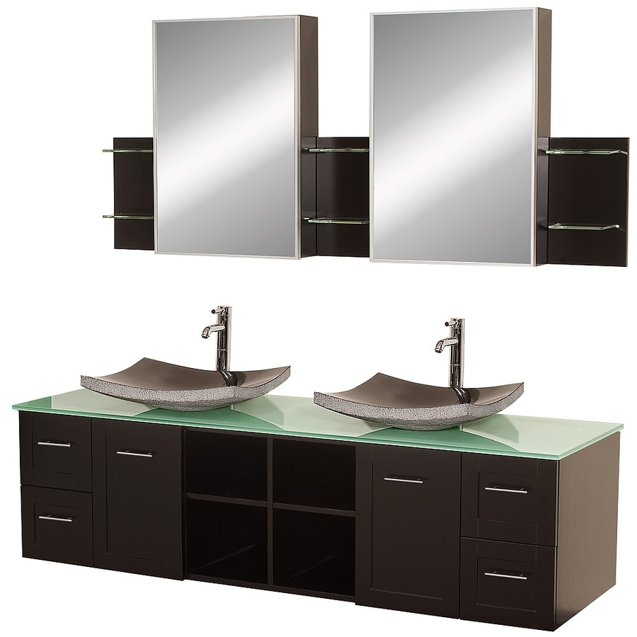Wyndham Collection Avara Espresso 72-in Vessel Double Sink Oak Bathroom Vanity with Tempered Glass and Glass Top (Mirror Included)