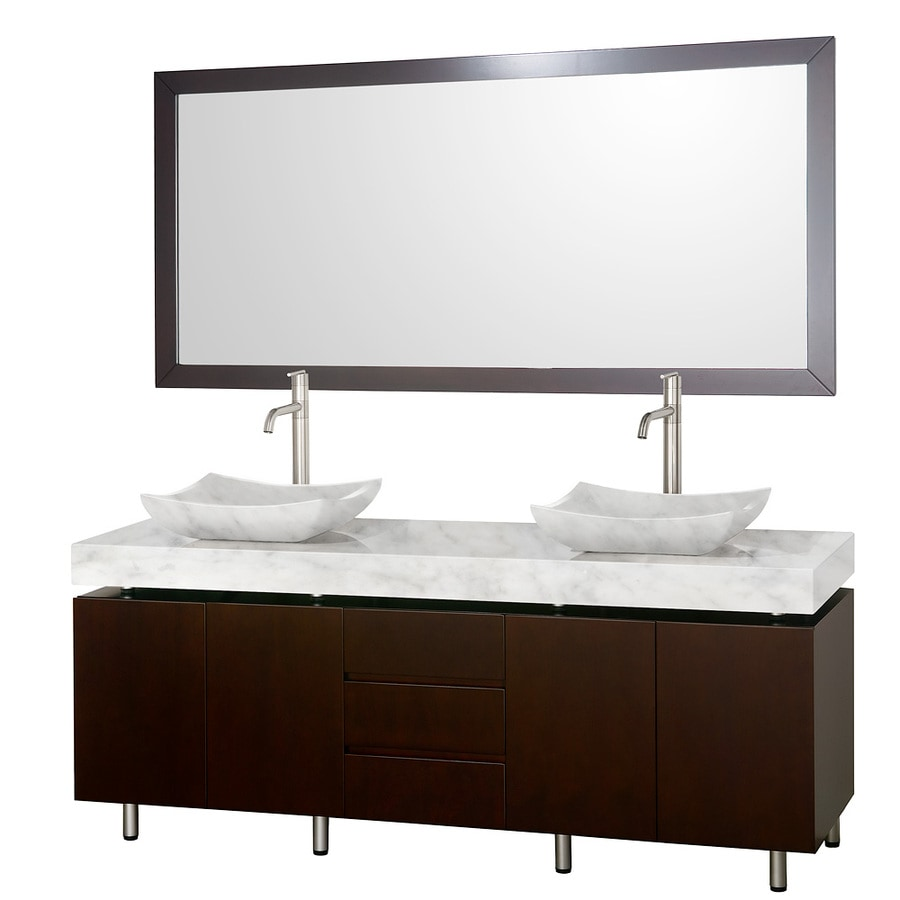 Wyndham Collection Malibu Espresso (Common: 72-in x 22-in) Vessel Double Sink Oak Bathroom Vanity with Natural Marble Top (Mirror Included) (Actual: 72-in x 22-in)
