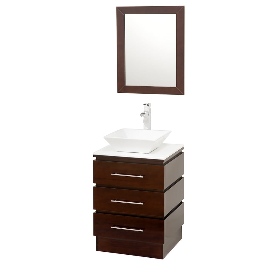 Wyndham Collection Rioni Espresso Single Vessel Sink Bathroom Vanity with Glass Top (Common: 23-in x 20-in; Actual: 22.25-in x 20-in)