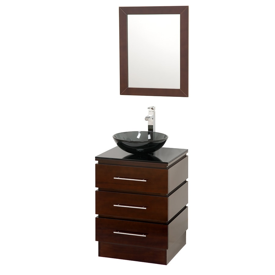 Wyndham Collection Rioni Espresso 22.25-in Vessel Single Sink Oak Bathroom Vanity with Glass Top (Mirror Included)
