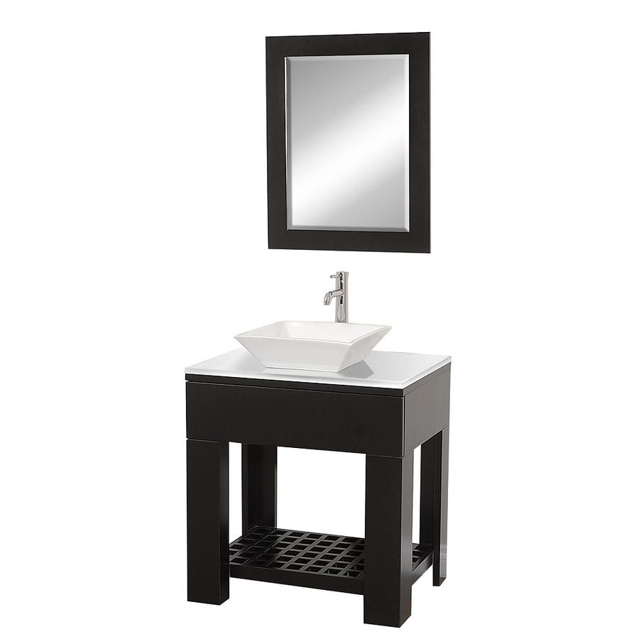 Wyndham Collection Zen Espresso Single Vessel Sink Bathroom Vanity with Glass Top (Common: 30-in x 22-in; Actual: 30-in x 22-in)