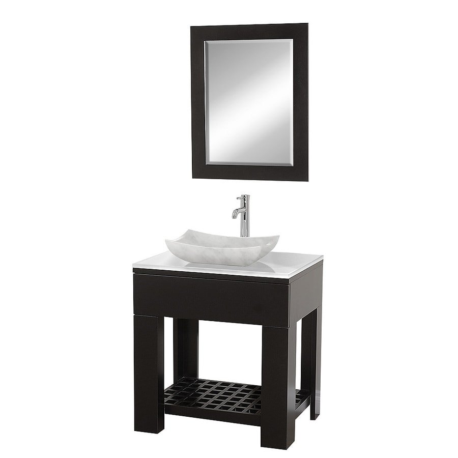 Wyndham Collection Zen Espresso (Common: 30-in x 22-in) Vessel Single Sink Oak Bathroom Vanity with Glass Top (Mirror Included) (Actual: 30-in x 22-in)