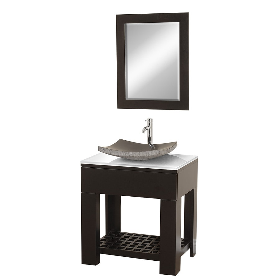 sink oak bathroom vanity with glass top mirror included at