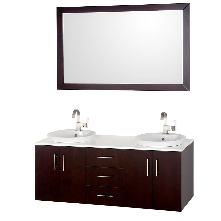 shop wyndham collection arrano espresso drop in double sink bathroom vanity with solid surface