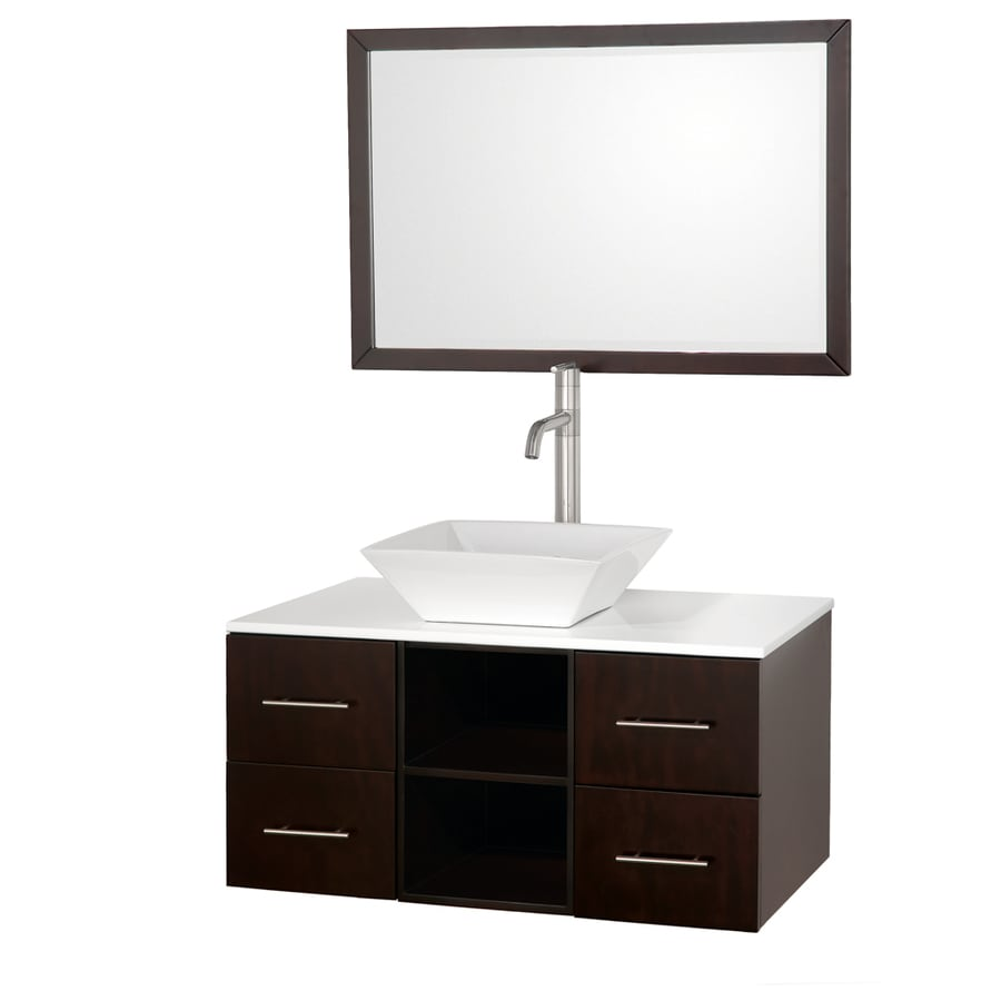 Wyndham Collection Abba Espresso Single Vessel Sink Bathroom Vanity with Glass Top (Common: 36-in x 21-in; Actual: 36-in x 21-in)