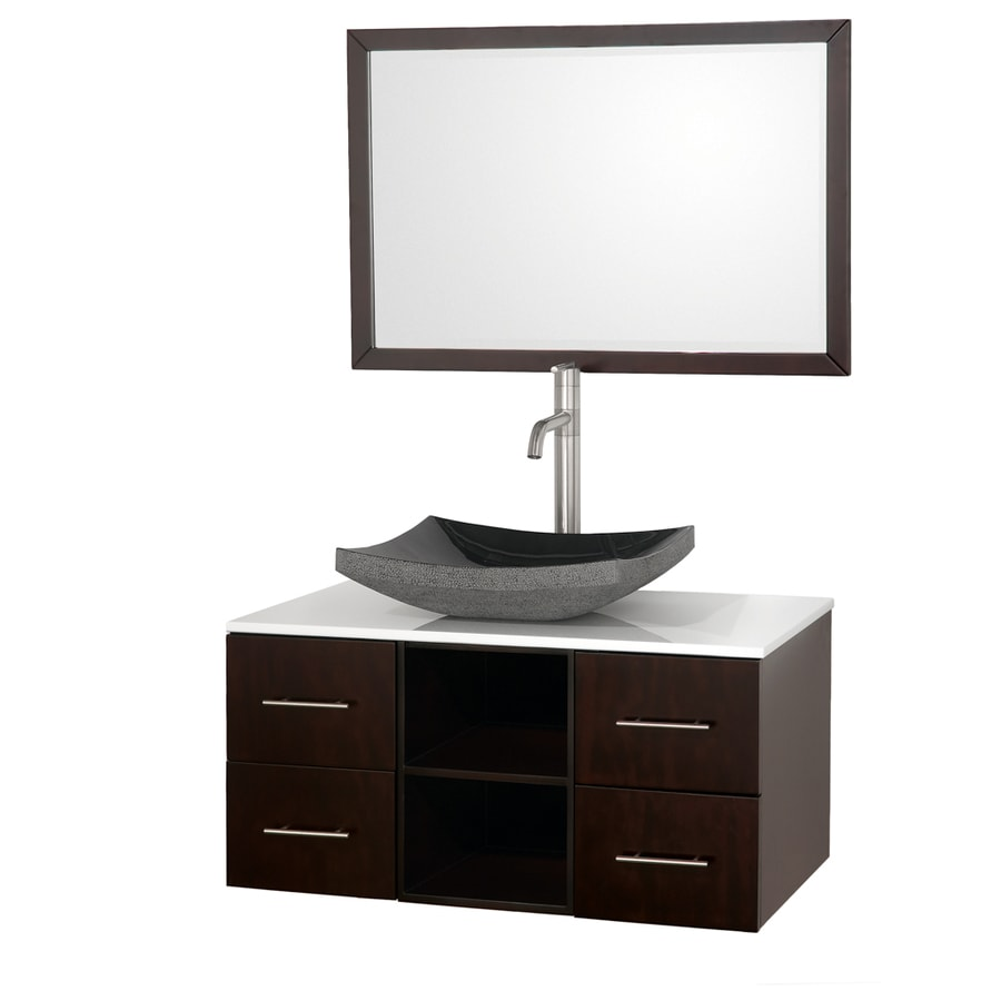 36 in vessel single sink oak bathroom vanity with glass top mirror