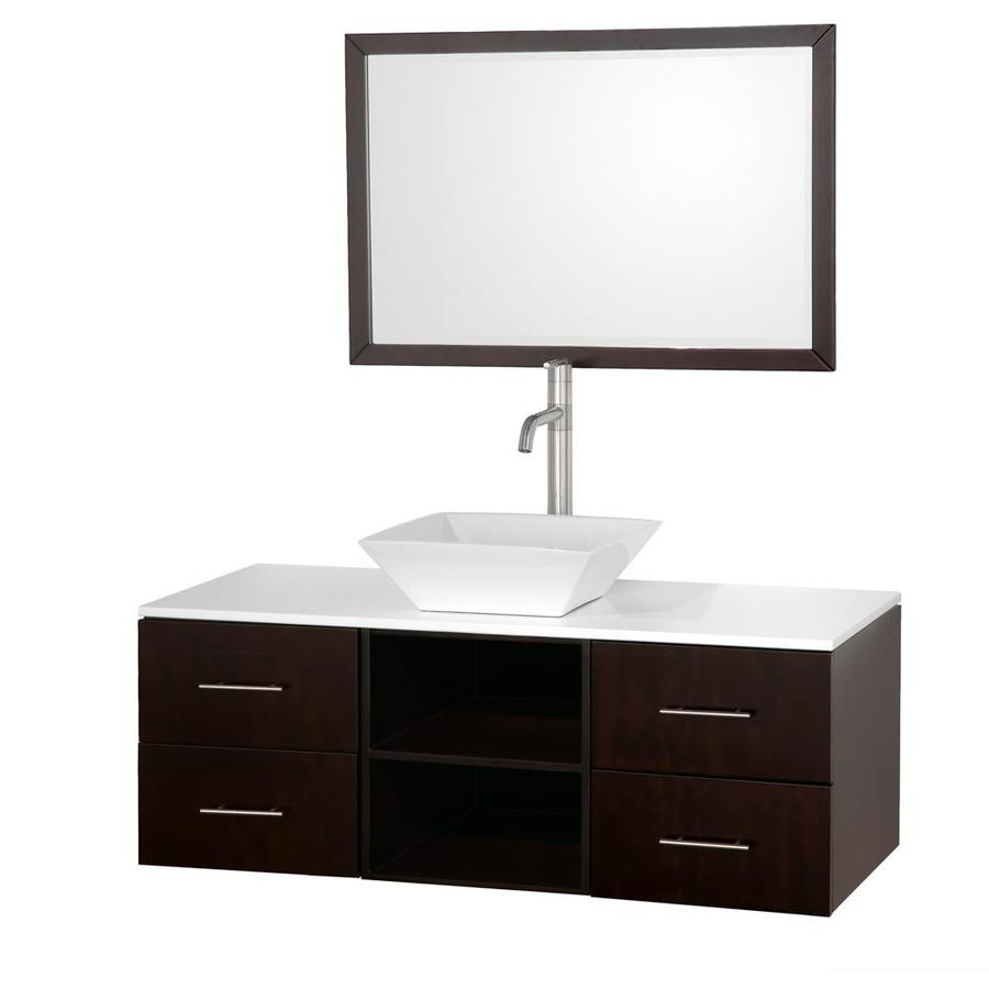 collection abba espresso 48 in vessel single sink oak bathroom vanity