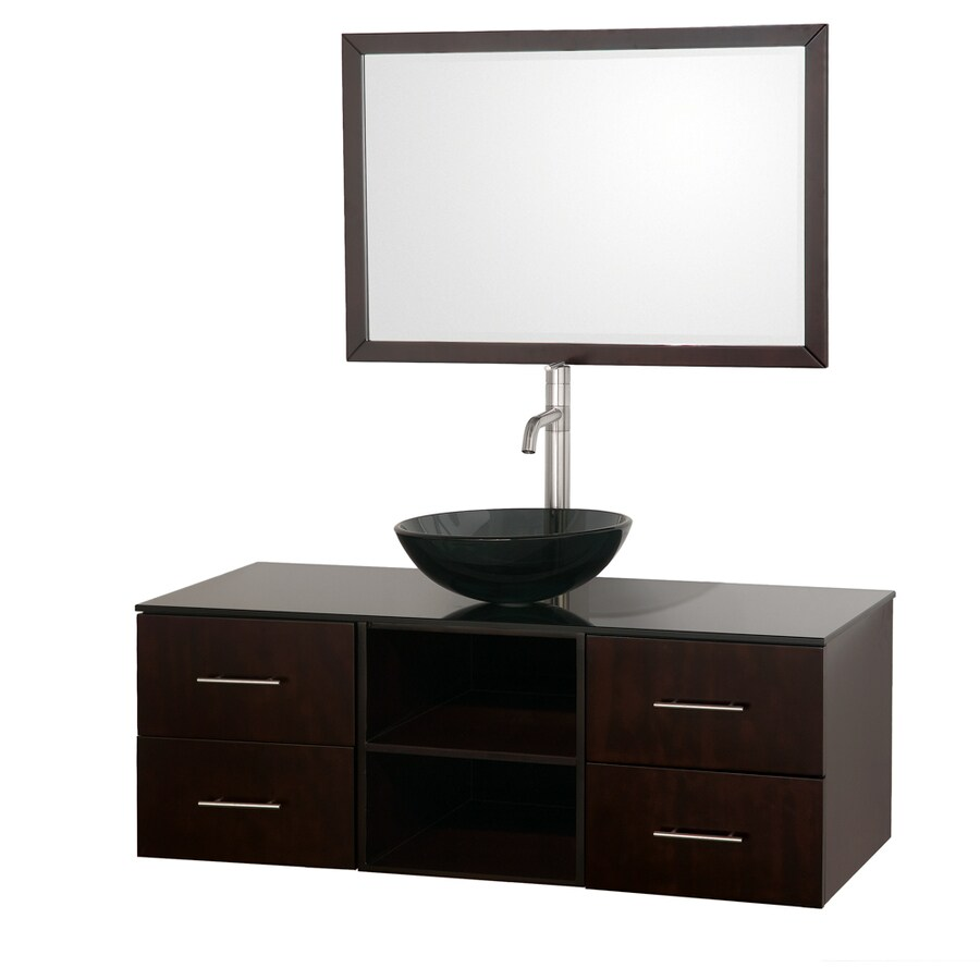 Wyndham Collection Abba Espresso 48-in Vessel Single Sink Oak Bathroom Vanity with Glass Top (Mirror Included)