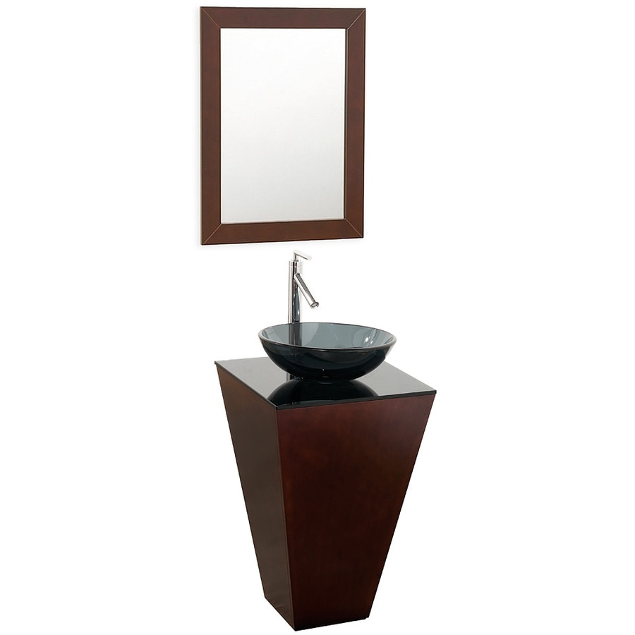 Wyndham Collection Esprit Espresso (Common: 21-in x 21-in) Vessel Single Sink Oak Bathroom Vanity with Glass Top (Mirror Included) (Actual: 20.125-in x 20.125-in)
