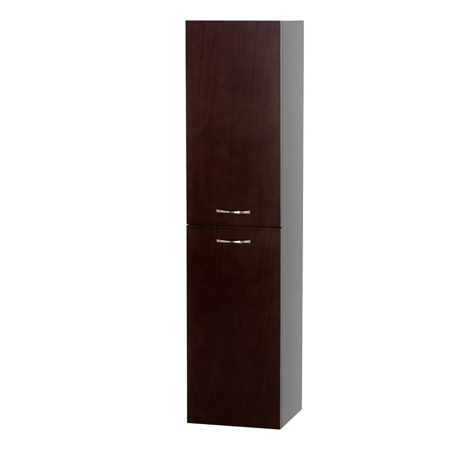 Wyndham Collection 13.5-in W x 56-in H x 12.25-in D Espresso Oak Wall-Mount Linen Cabinet