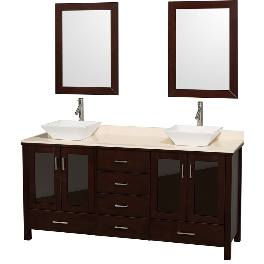 Wyndham Collection Lucy Espresso (Common: 72-in x 23-in) Vessel Double Sink Oak Bathroom Vanity with Natural Marble Top (Mirror Included) (Actual: 72-in x 22.75-in)
