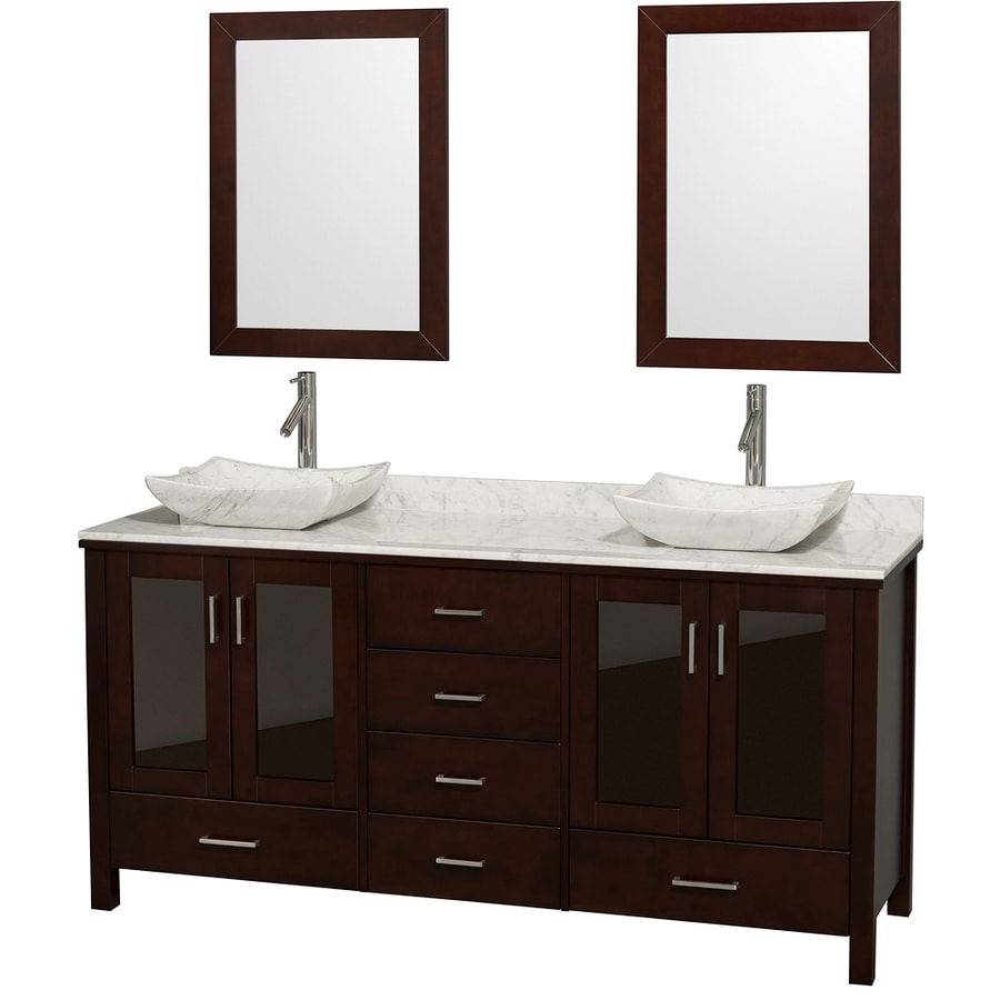 Wyndham Collection Lucy Espresso 72-in Vessel Double Sink Oak Bathroom Vanity with Natural Marble Top (Mirror Included)