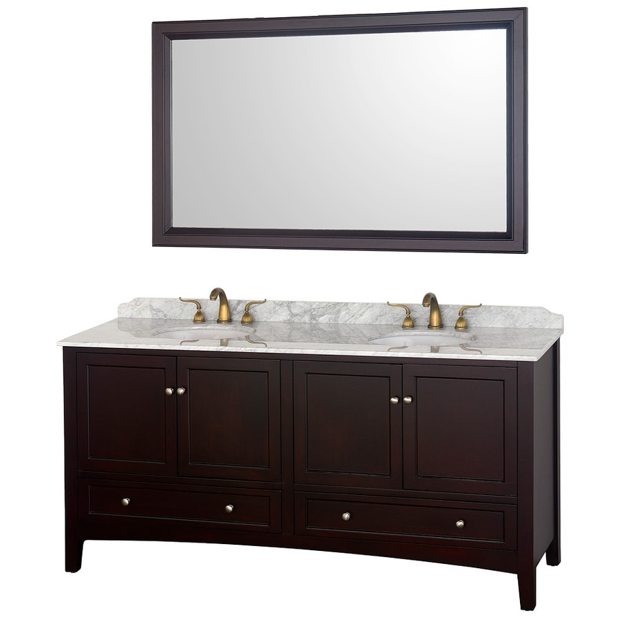 Wyndham Collection Audrey Espresso (Common: 72-in x 22-in) Undermount Double Sink Oak Bathroom Vanity with Natural Marble Top (Mirror Included) (Actual: 72-in x 22-in)
