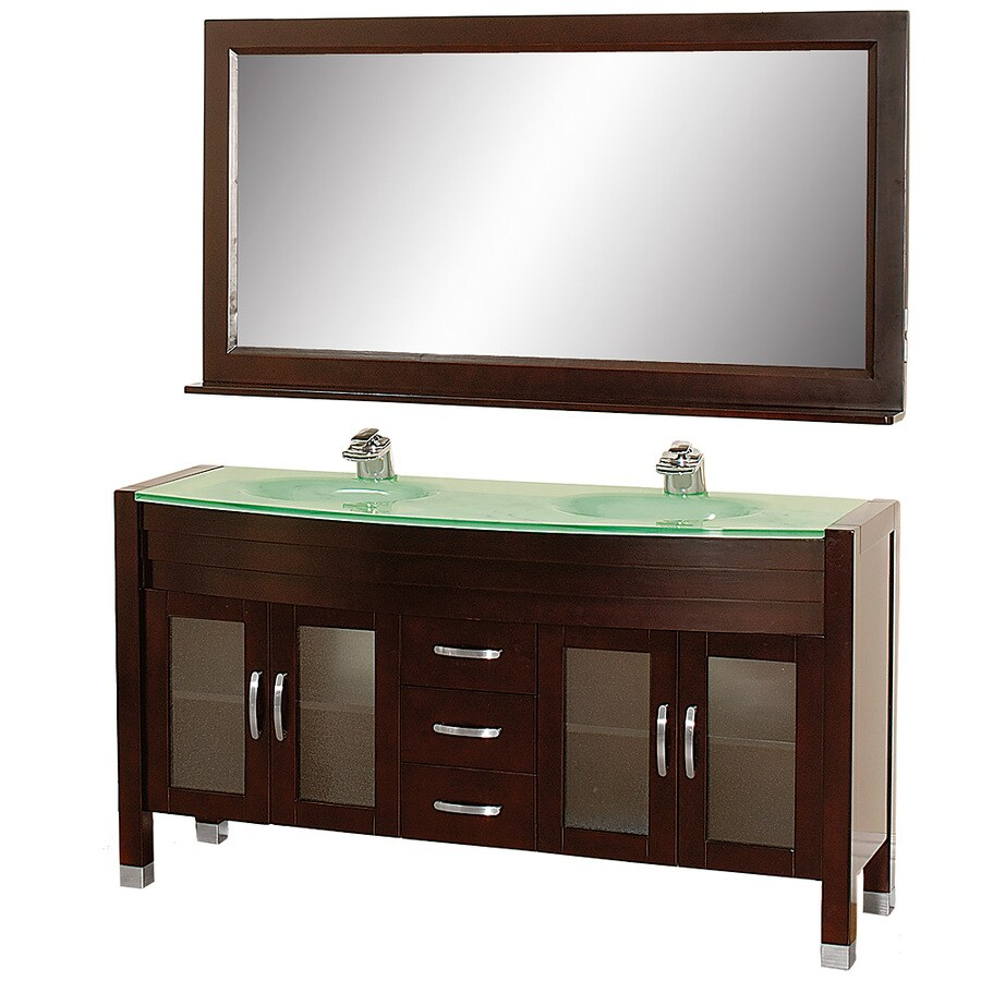 Wyndham Collection Daytona Espresso (Common: 63-in x 22-in) Integral Double Sink Oak Bathroom Vanity with Tempered Glass and Glass Top (Mirror Included) (Actual: 62.75-in x 21.75-in)
