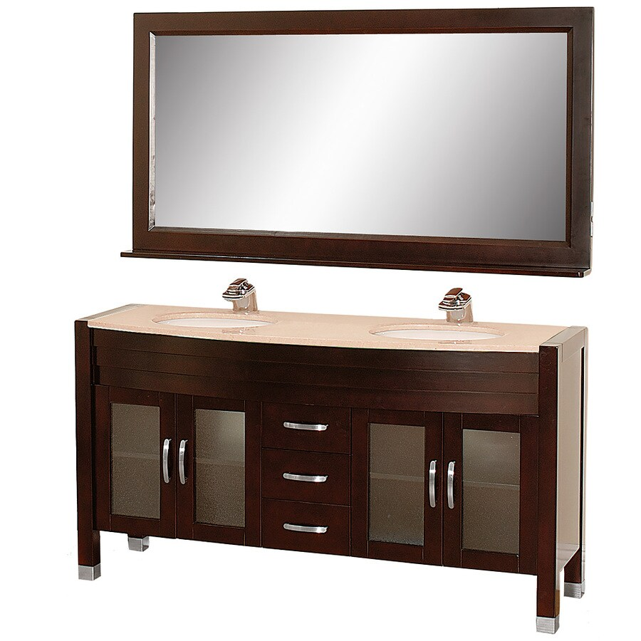 Wyndham Collection Daytona Espresso Undermount Double Sink Bathroom Vanity with Natural Marble Top (Common: 63-in x 22-in; Actual: 62.75-in x 21.75-in)